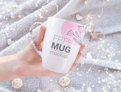 Hand Holding Mug Mockup Set