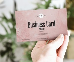Free Hand Showing Business Card Mockup