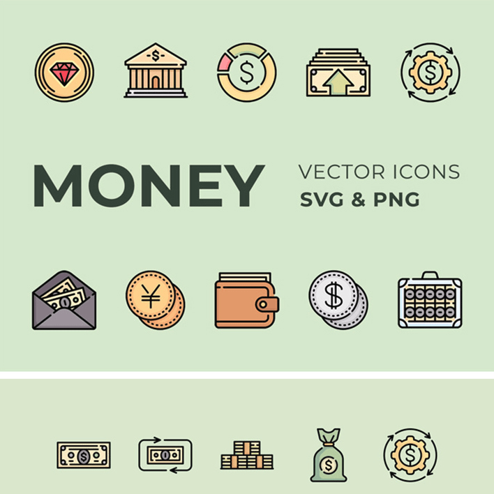 50 Money Vector Icons