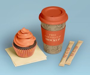 Coffee Cup & Cupcake Mockup