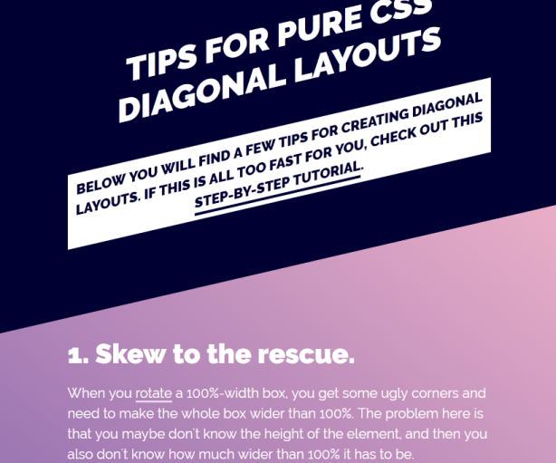 Pure CSS Diagonal Layouts