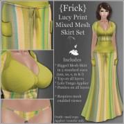 {Frick} Lucy Print Mixed Mesh Skirt Set