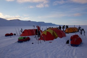 Our first camp on the glacier.