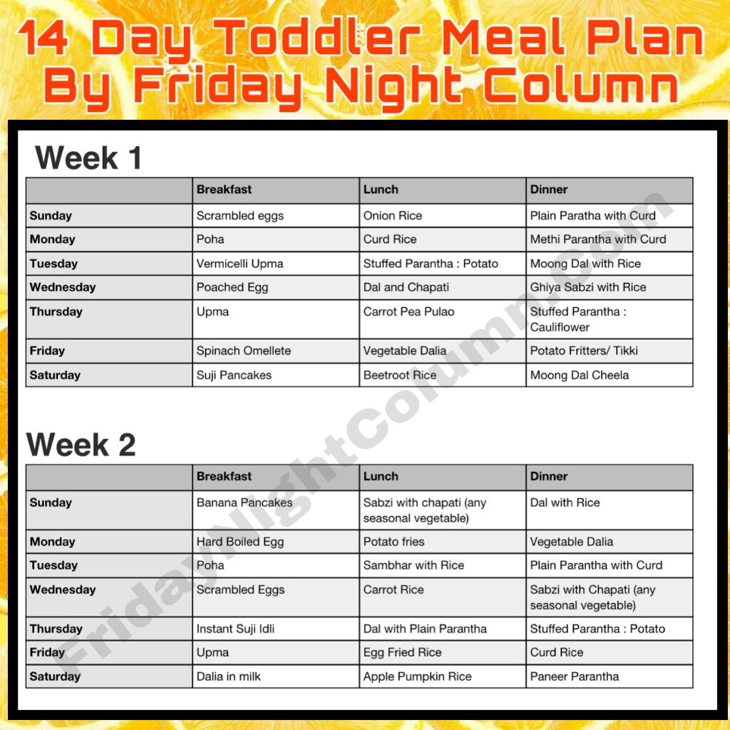 14 Day Toddler Meal Plan By Friday Night Column 01