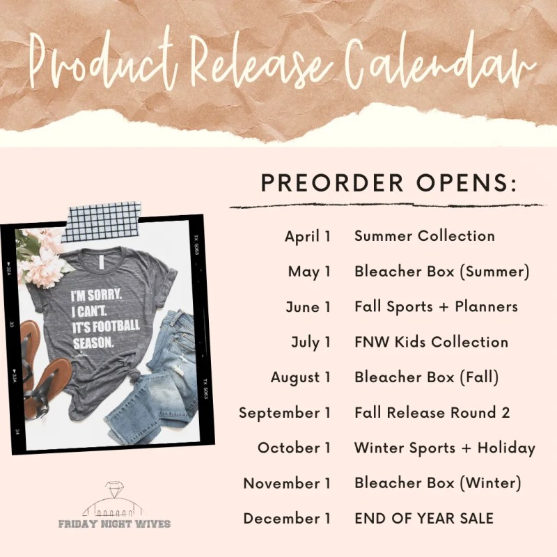 preorder calendar friday night wives product release
