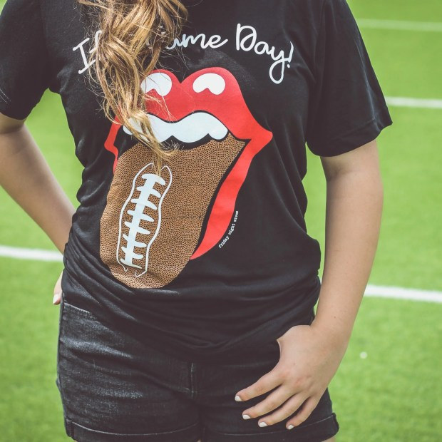 game day apparel football rolling stones tongue tee