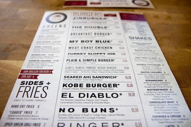 Zinburger menu