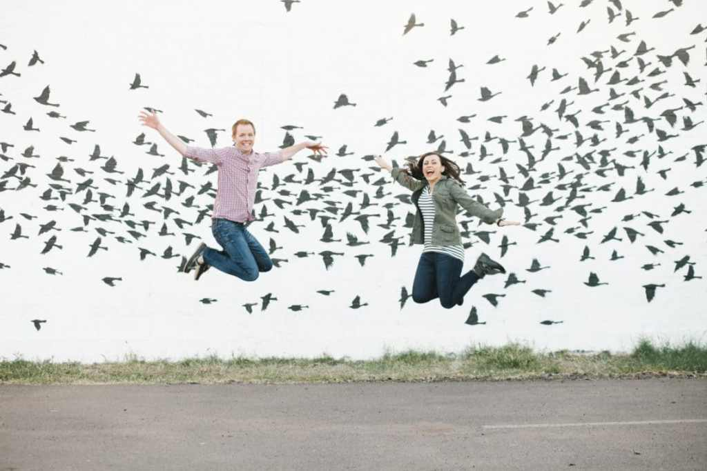 Excited jumping mural pic
