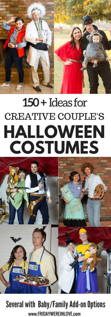 Couple's Halloween Costume Ideas: 150 plus creative couple's Halloween Costume Ideas, with several that include easy family Halloween Costumes to add a themed family Halloween costume with a baby or young children