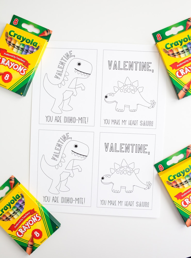 Dinosaur Valentines Card to Color