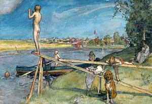 Ett bra badställe -- Carl Larsson