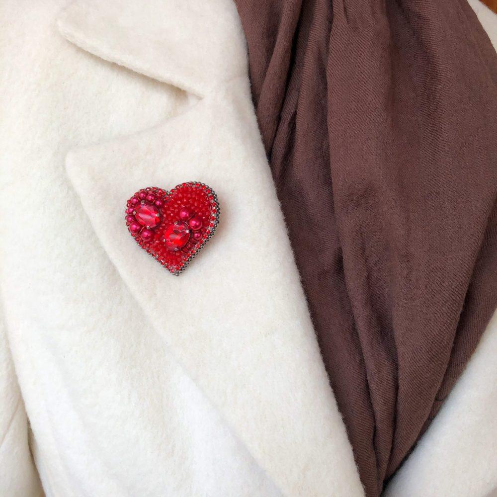 брошь брошка кристаллы стразы сваровски swarovski сердце