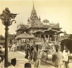 """""""The Jain temple, Parashnath Mandir, is Calcutta's gaudiest and most elaborate temple. The Jains are asect of the Hindus, a great many of whom belong to the money-lending class, are shrewed and frequently wealthy. Jains do not believe in taking a life, often even wear a nostril veil to prevent inhaling of insects."""