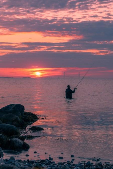 Fisker i solopgangen