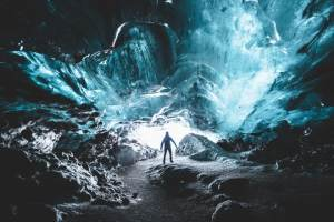 Blue Ice Cave - friend in iceland