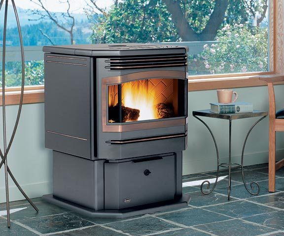 Enviro Meridian Pellet Stove in a living room setting for any home or cottage.