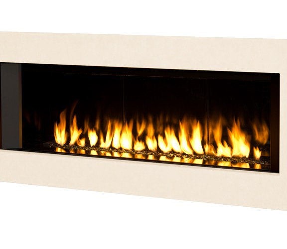 Valor L2 Linear Gas Fireplace Reflective Sandstone Surround
