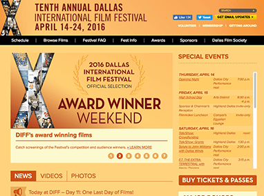 Dallas International Film Festival: event website management and blogs