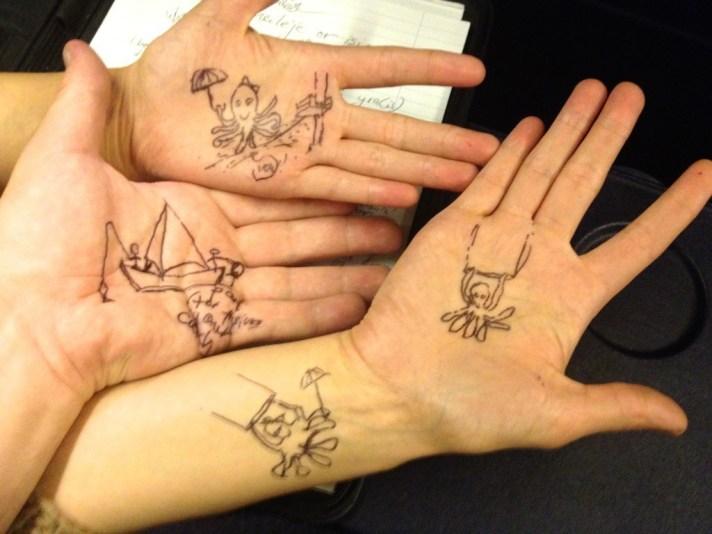 doodling on hands