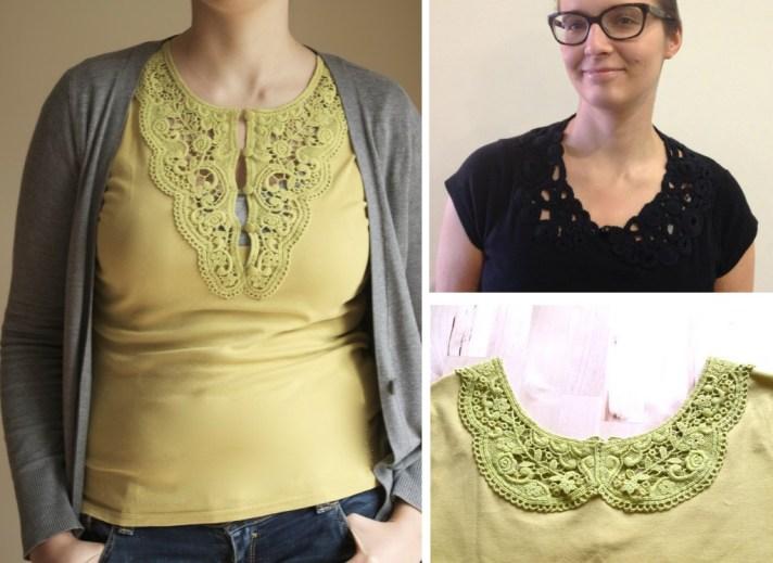 simple lace neckline inserts DIY