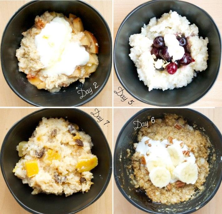 12 mornings of overnight porridge