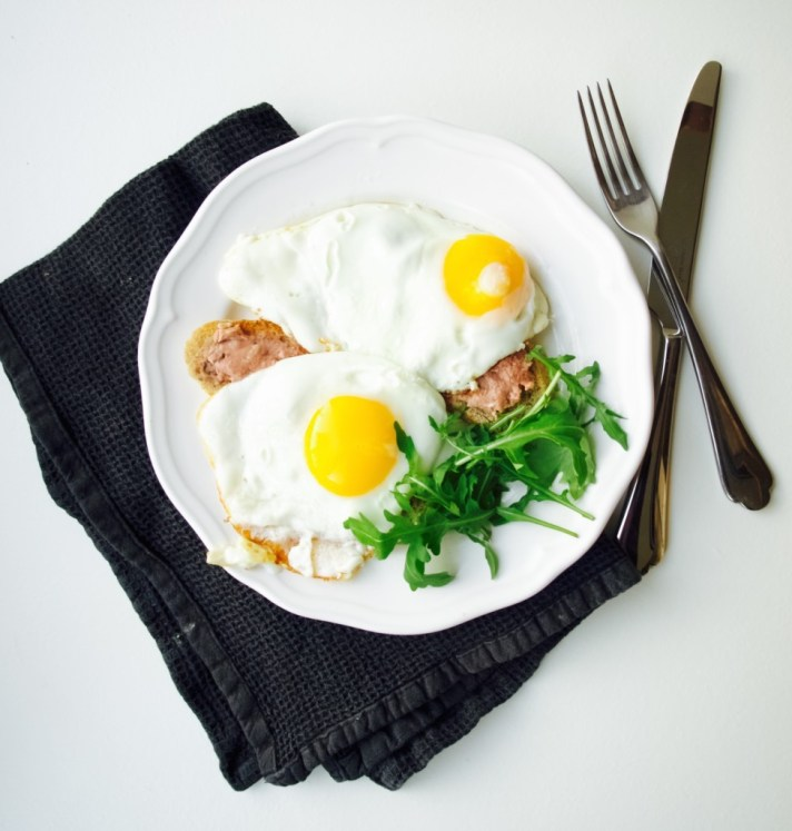 My favourite breakfast: pate and egg on toast