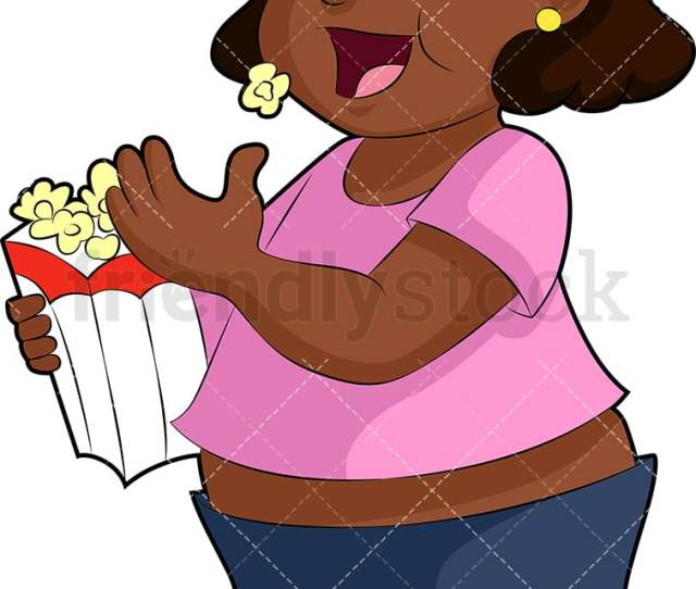 Fat Black Girl Eating Popcorn Png Jpg And Vector Eps File Formats Infinitely