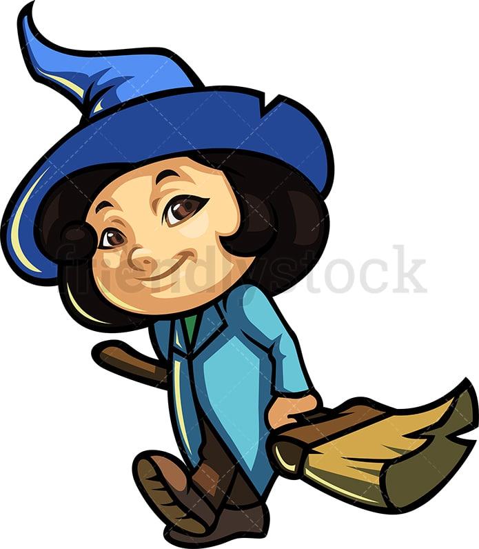 Little Girl Witch In Halloween Costume Cartoon Clipart Vector Friendlystock