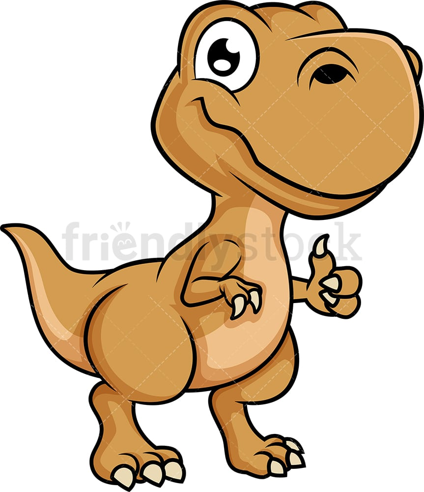 Cute T Rex Dinosaur Cartoon Clipart Vector Friendlystock