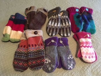 Upcycled Sweaters made into mittens - variety of sizes!