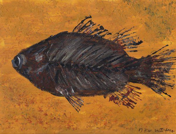 BW 50 million year old fish 9×12 acrylic $40 11-18
