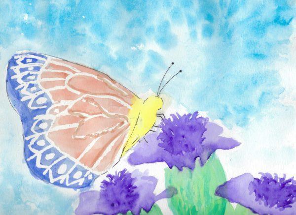 BW Beautiful Butterfly 9×12 mixed $45 2-2020