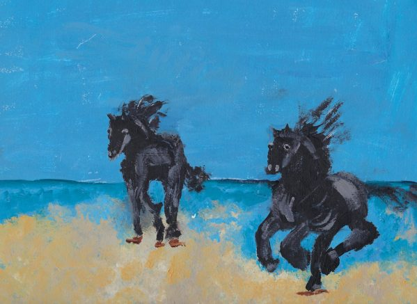 BW Stamping Steeds 9×12 acrylic $35 2-18