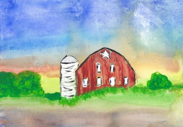 CC Star Barn Sunset 9×12 mixed $50 7-16