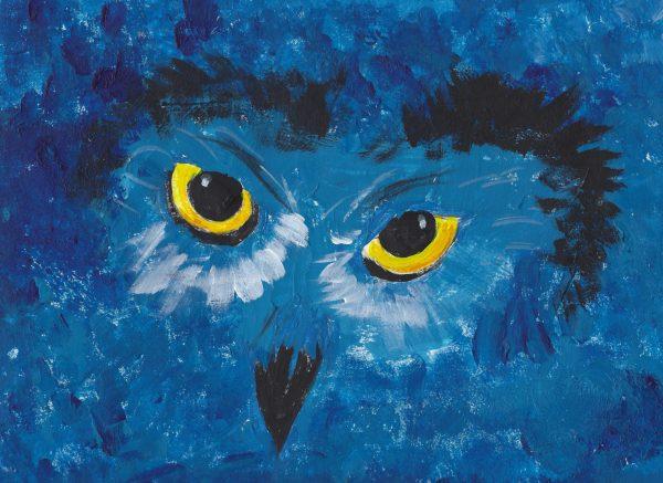CH Azul Owl 9×12 acrylic $45 5-18