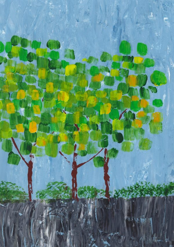 CH We 3 Trees 9×12 acrylic $45 4-18