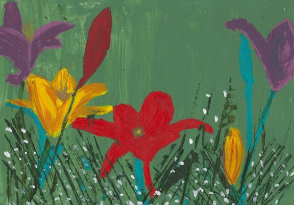 DS Day Lillies and Babies Breath 9×12 acrylic $45 5-16
