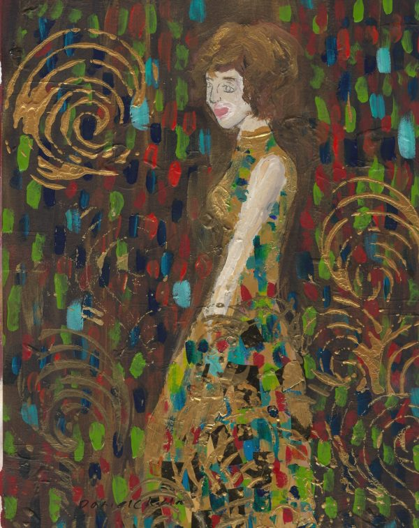 DaK Lady in Gold 9×12 mixed $50 5-18