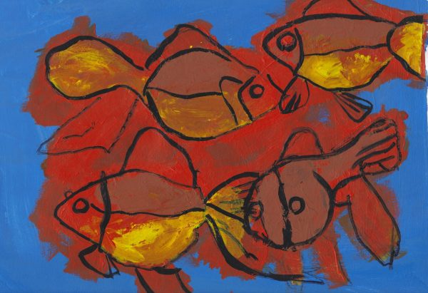JS Four Fish 9×12 acrylic $45 3-19