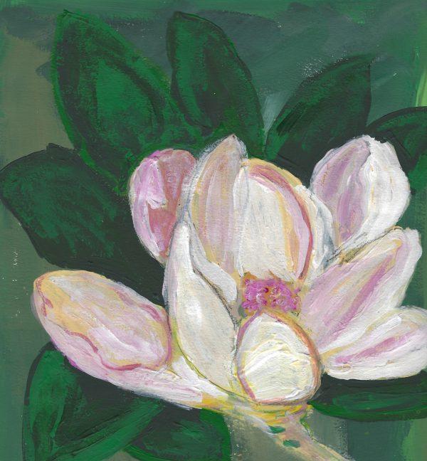 JS Sweet Bay Magnolia 9×9 acrylic $45 4-16