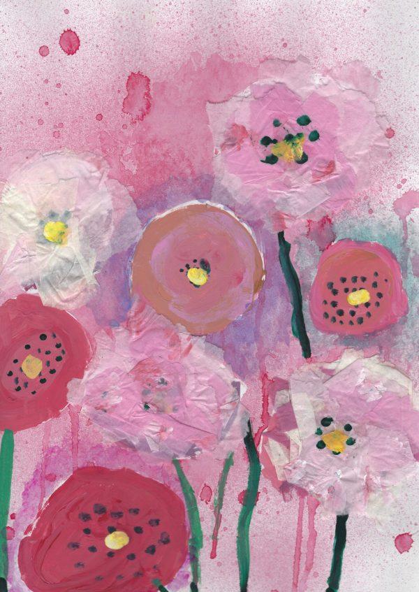 JuS Pink Puffs 9×12 mixed $50 7-17