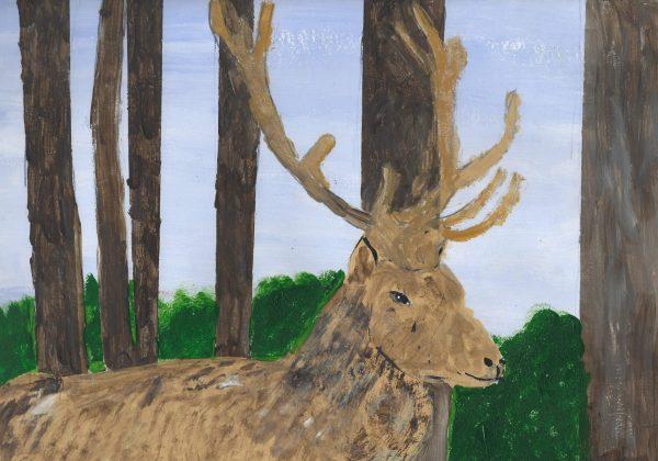RE Elk Heart 9×12 acrylic $45 10-18