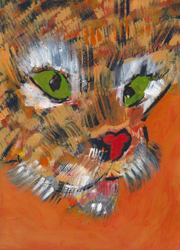 RE Eye of the Tiger 9×12 acrylic $45 8-18