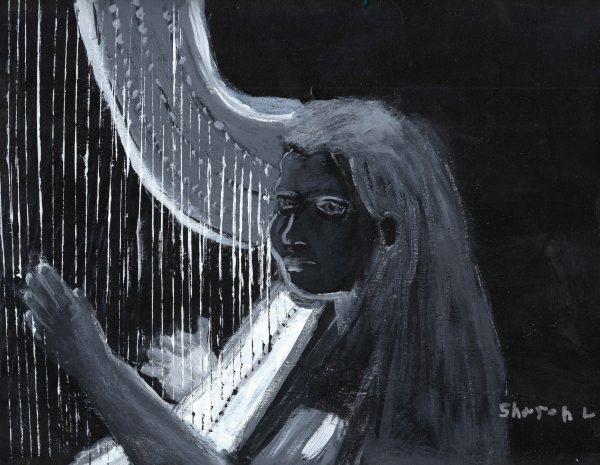 ShL dont harp on it 9×12 acrylic 7-17 $45