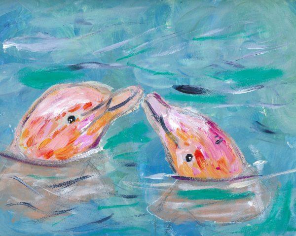 ShL pink porpoises 9×12 acrylic 6-19 $45