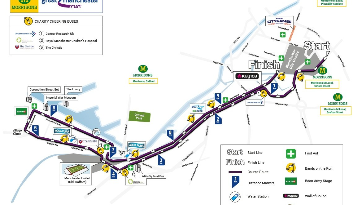 Great Manchester Run course map | www.greatrun.org (permission requested)