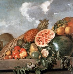 Still Life with Watermelons, Pineapple and Other Fruit by Albert Eckhout, a Dutch painter active in 17th century Brazil