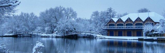 snowy boathouse