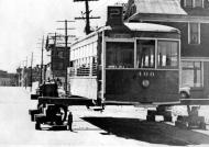 """""""BC Electric Streetcar Ready For Conversion To Bunkhouse By Mayo Logging Co. Store Street, Victoria."""" RBCM&A/E-01972."""