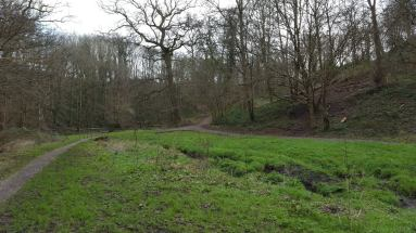 Looking away from the St Anne's Well area towards the bridge over the Brislington Brook.